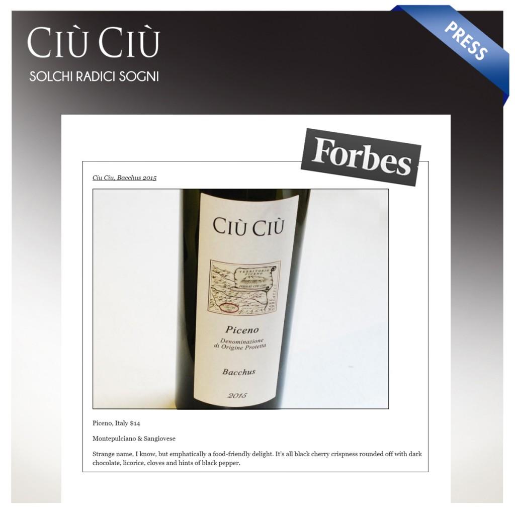 Rosso Piceno Bacchus di Ciù Ciù tra i 10 migliori vini europei secondo Forbes