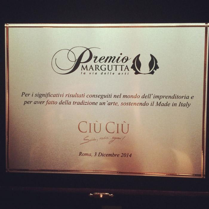 CIÙ CIÙ AL PREMIO MARGUTTA 2014: premio speciale per l'Italian Style