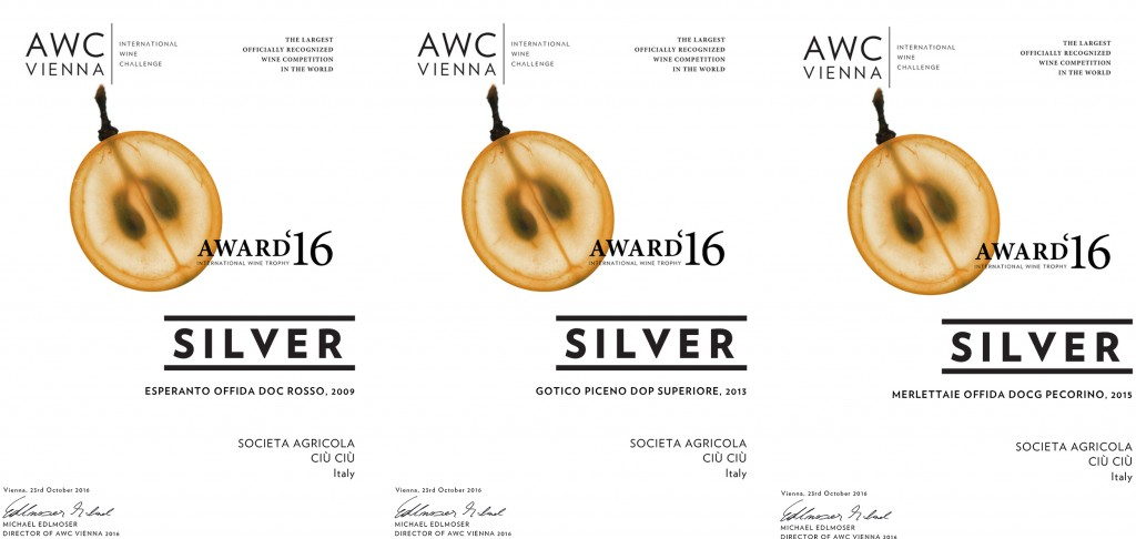 Ciù Ciù: tre medaglie all'International Wine Challenge 2016 AWC Vienna