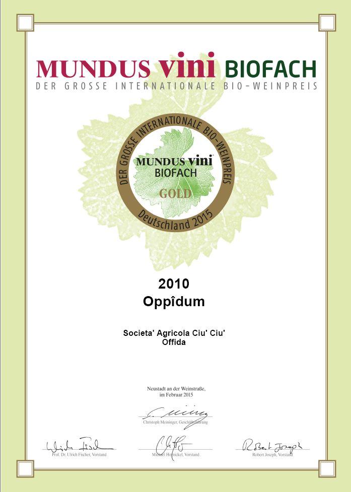Oppîdum è medaglia d'oro al Mundus Vini Biofach 2015