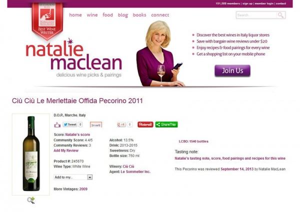 Le Merlettaie Ciù Ciù valutate da Natalie Maclean con un punteggio di 87/100