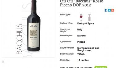 Ciù Ciù Bacchus Rosso Piceno su Wine Wire